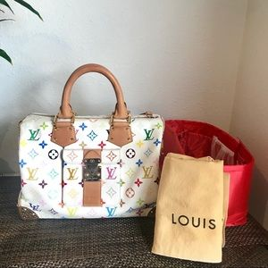 dd85f8c1599f Louis Vuitton · Louis Vuitton Multicolor Speedy 30 white